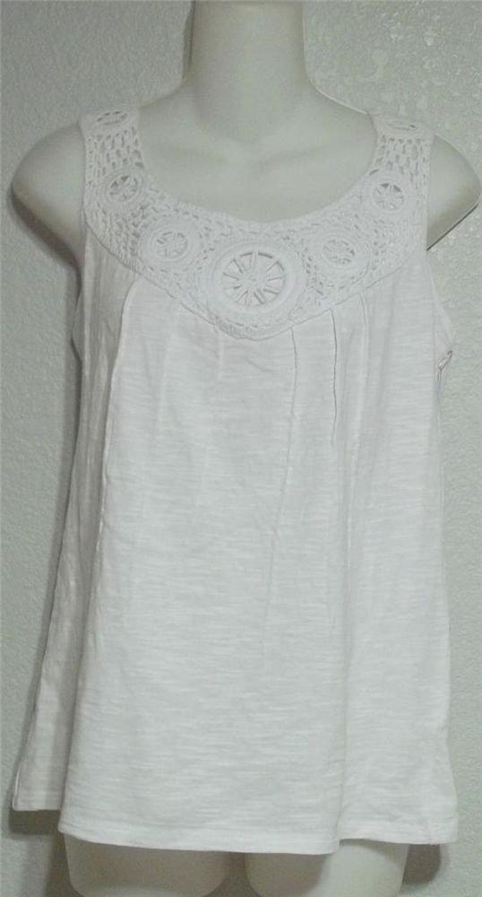 NEW Madison Hill Medium 8 10 White Crochet Sleeveless Blouse Tank Top