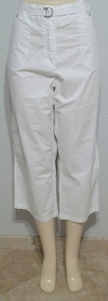NEW Onque Casuals 16 XL Extra Large Cropped White Cargo Pants Metal Accent Belt