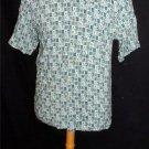 NEW Island Brand Small Teal Green Print Men's Button Up SS Shirt 100% Rayon