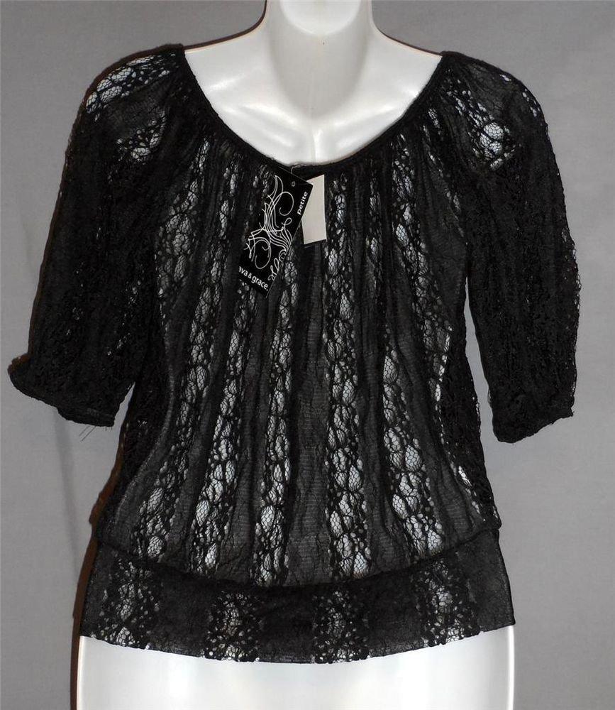 NEW Ava & Grace Petite PS 4P 6P Black Sheer Lace Half Sleeve Peasant Boho Blouse