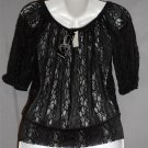 NEW Ava & Grace Petite PS 4P 6P Black Sheer Lace Half Sleeve Peasant Boho Blouse