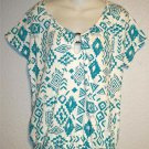 NEW Small 4 6 French Laundry Teal White Geometric Peasant Off Shoulder Blouse