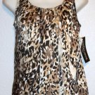 NEW Notations Petite  PS Petite Small 4P 6P  Silky Sleeveless Leopard Blouse Top