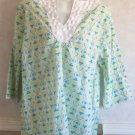 NEW Palm Grove Medium 8 10 Aqua Green White 3/4 Sleeve Cotton Seersucker Blouse