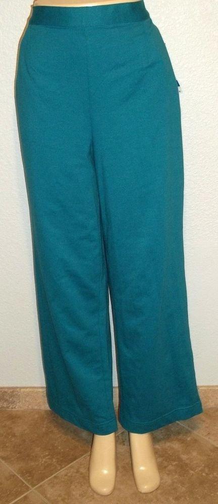 NEW Koret Plus XL 18 20 Missy Regular Teal Elastic Back Casual Cotton Knit Pant