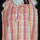 New Company One Petite Small Pastel Pink Plaid Sleeveless Top Stitching PS P4 P6