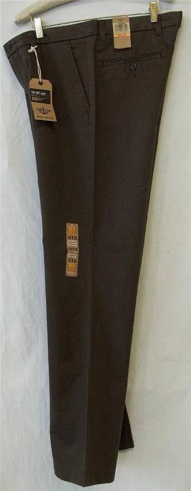 NEW Dockers D3 Brown 33W x 32W 34W x 32W Classic Fit Soft Khaki Flat  Pants