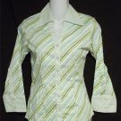 NEW Antilia Femme PS Petite Small 4P 6P Yellow Blue Green Striped Career Blouse