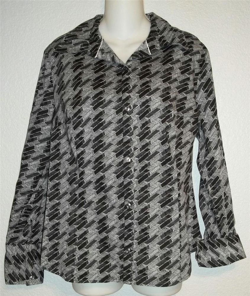 Attention Large 12 14 Black White Gray Abstract LS Button Front Career Blouse