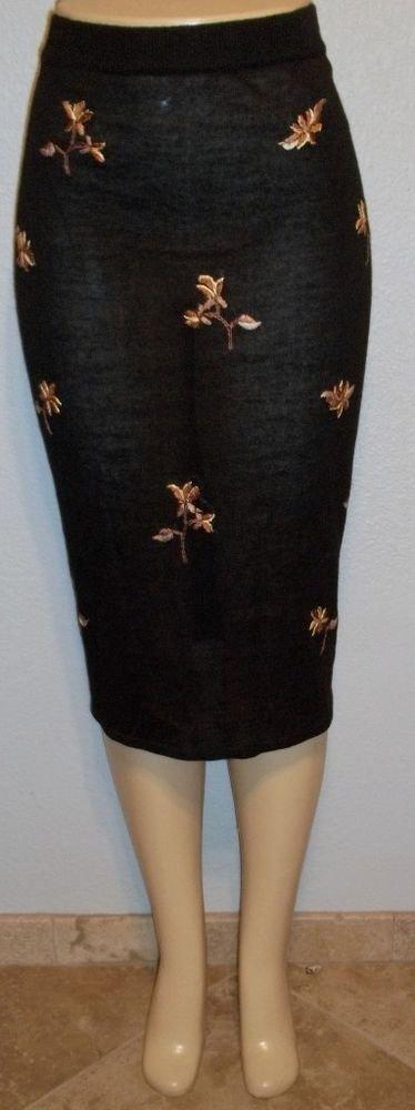 NEW Bon Worth Petite Large LP 12P 14P Black Floral Elastic Waist Skirt