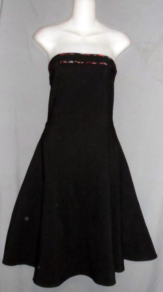 Windsor Junior 3 Small Black Red Trim Strapless A-Line Net Underskirt Dress