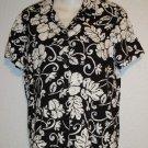 Croft & Barrow Black White Hawaiian Floral Camp Shirt Petite PM 8P10P 100% Rayon