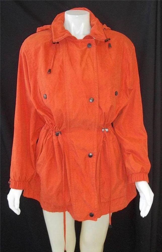 Gallery Medium 8 10 Orange Windbreaker Jacket Detachable Hood Drawstring Waist