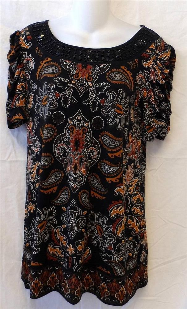 APT. 9 Small 4 6  Black Cocoa Brown Burnt Orange Paisley Floral Beaded Blouse