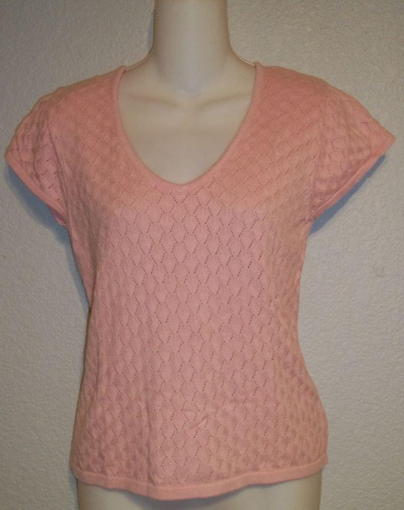 Jones Wear Juniors Medium 7 9 Light Pink Crochet Pattern V-Neck Cap Sleeve Top