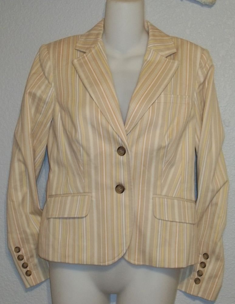 Grace Dane Lewis 4 Small Beige Yellow Gold Striped fully Lined Jacket Blazer