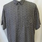 J. Ferrar Men's XL White Black Charcoal Abstract Pattern SS Button Front Shirt