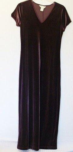 Express Tricot Juniors 7 8 Med V Neck Cap Sleeve Velvet Maroon Purple Long Dress