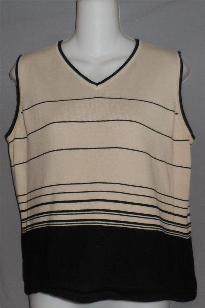 Casual Corner Annex XL 16 18 Extra Large Tan Black Sleeveless V Neck SweaterTank