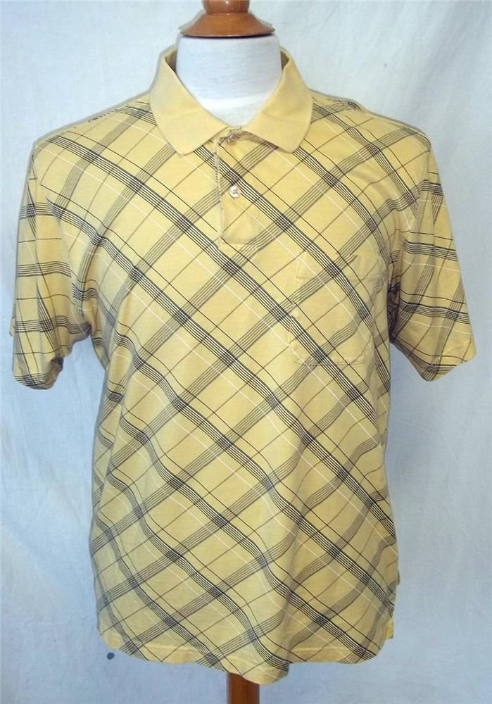Izod Men's Large Yellow Navy Blue Plaid 100% Cotton SS Polo Golf Collared Shirt
