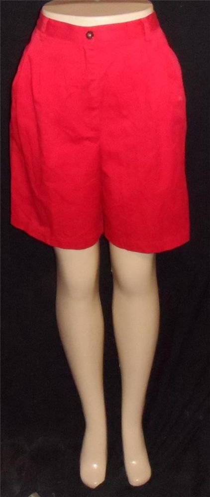 Karen Scott 8 Medium True Red Pleated Knee Length Golf Walking Bermuda Shorts