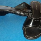"Montego Bay Club 9 Medium B Black White Stitch Leather Slide Sandal 1-3/4"" Heel"