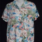 Karen Scott Sport St Tropez  8 10 Medium SS 100% Rayon Camp Shirt Blouse Top