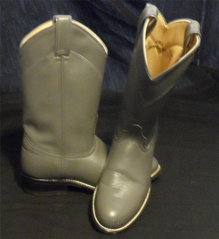 Laredo 6M MediumTall Charcoal Gray Leather Round Toe Cowboy Western Boots