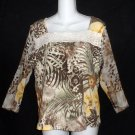 Large 12 14 Caribbean Joe Cotton Brown Olive Blouse Top Sheer 3/4 Sleeves Lace