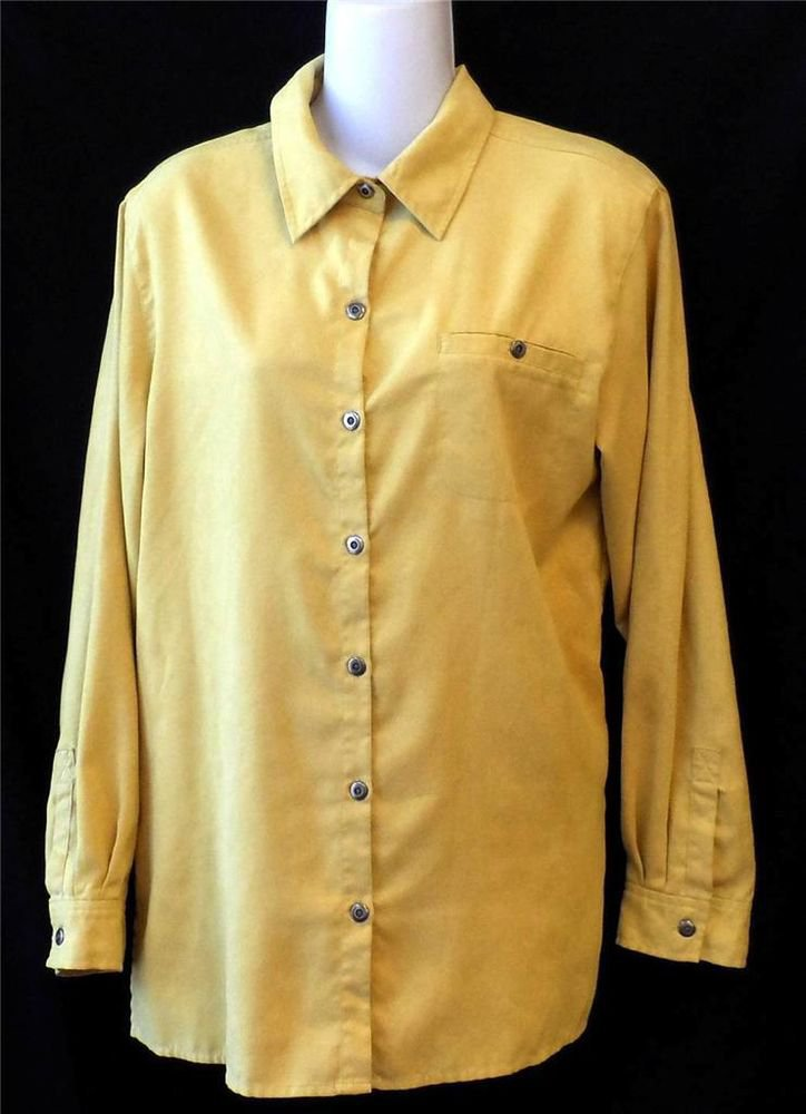 Chico's Design Womens Chico Size 1 Gold Mustard Suede Feel Long Sleeve Blouse