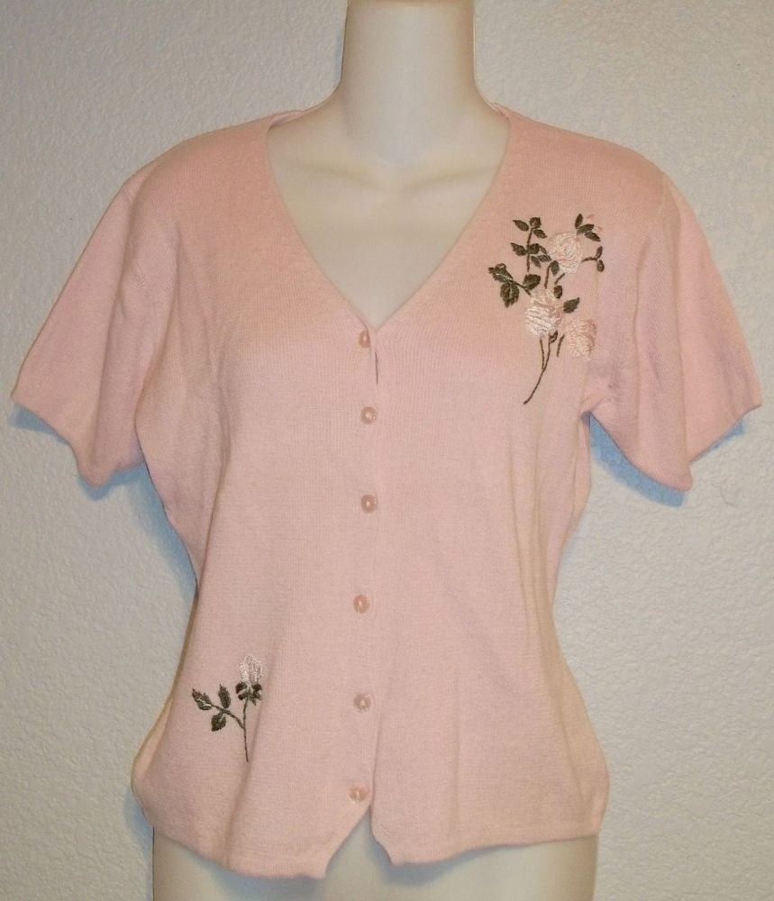 R & K Originals 8 Medium Pale Pink Ramie Cotton Short Sleeve Cardigan Sweater