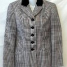 Petite Sophisticate 2P PXS White Black Red Plaid Long Sleeve Lined Jacket Coat