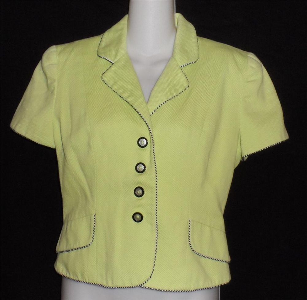 Barami 4 Small Lime Green Pique Vintage '80s Buttoned Lined Short Jacket Blouse
