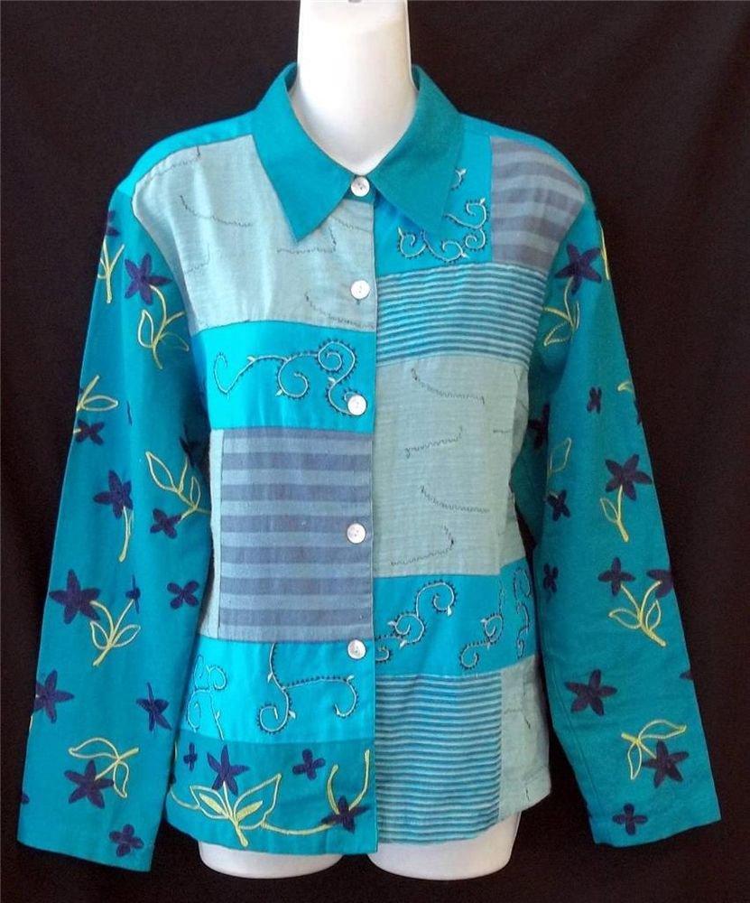 Mirasol Medium 8 10 Aqua Embroidered Patchwork Blouse LS Button Front Shirt