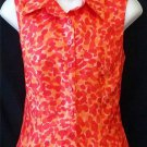 Dress Barn 6 Small Orange Red Silky Sleeveless Button Front Collared Blouse