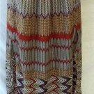 Worthington Small 4 6 Full Length Purple Red Black Tan Chevron High Slit Skirt