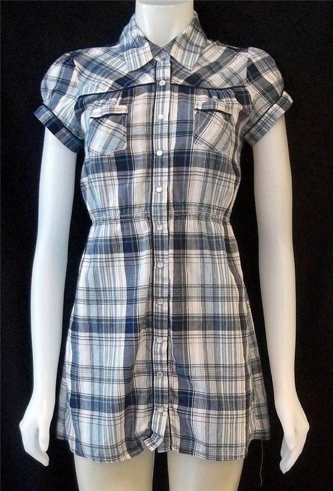 Juniors Medium 7 9 Rue 21 Navy White Silver Plaid Pleated Collared Shirt Blouse