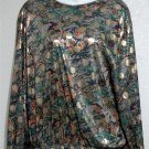 Orare 18W 2X Green Gold Black Coral Jewel Neck Long Sleeve Silky Blouse Top
