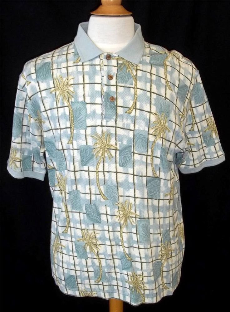 Caribbean Men's Large Blue Green Palm Tree Silk Blend SS Polo Golf Collar Shirt