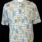 Caribbean Men's Large Blue Green Palm Tree Silk Blend SS Polo Golf Collar Shirt