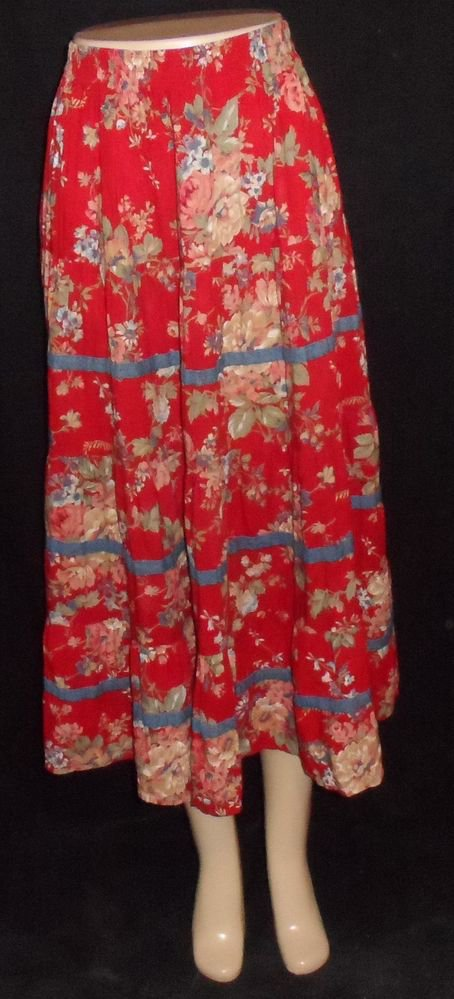 Koret City Blues Small 4 6 Red Pink Green Roses Vintage '80s Tiered Broom Skirt