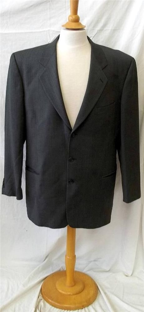 Saks Fifth Ave XL 48 Mens Medium Gray Business 3 Button Lined Pin Striped Jacket