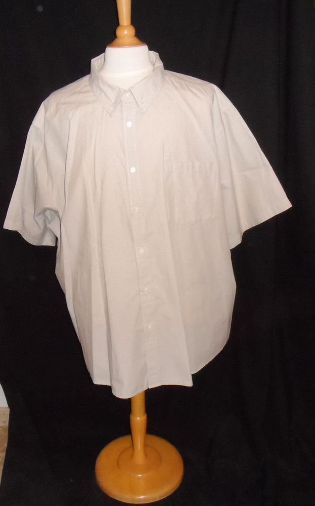Men's 4XL Basic Editions Beige Cotton Blend SS Button Collar Dress Casual Shirt