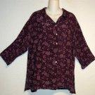Yazdi XL 16 18 Extra Large Dark Lavender Floral 100% Rayon 3/4 Sleeve Blouse Top