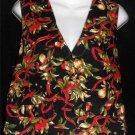 Hand Made Large 12 14 Reversable Black Christmas Holly Acorn V Neck Cotton Vest