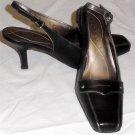 "Nickels Soft  6 M B Black Silver Trim Sling Back Square Toe 3"" Spool Heel Shoes"
