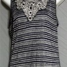Medium 8 10 Agenda Dark Navy Blue Silver Stripe Long Tank Top Embellished Neck