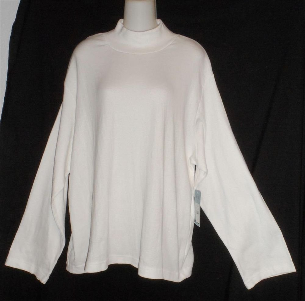 Hillard & Hanson Woman 3X 22W 24W White Long Sleeve Mock Turtle Cotton Blend Top