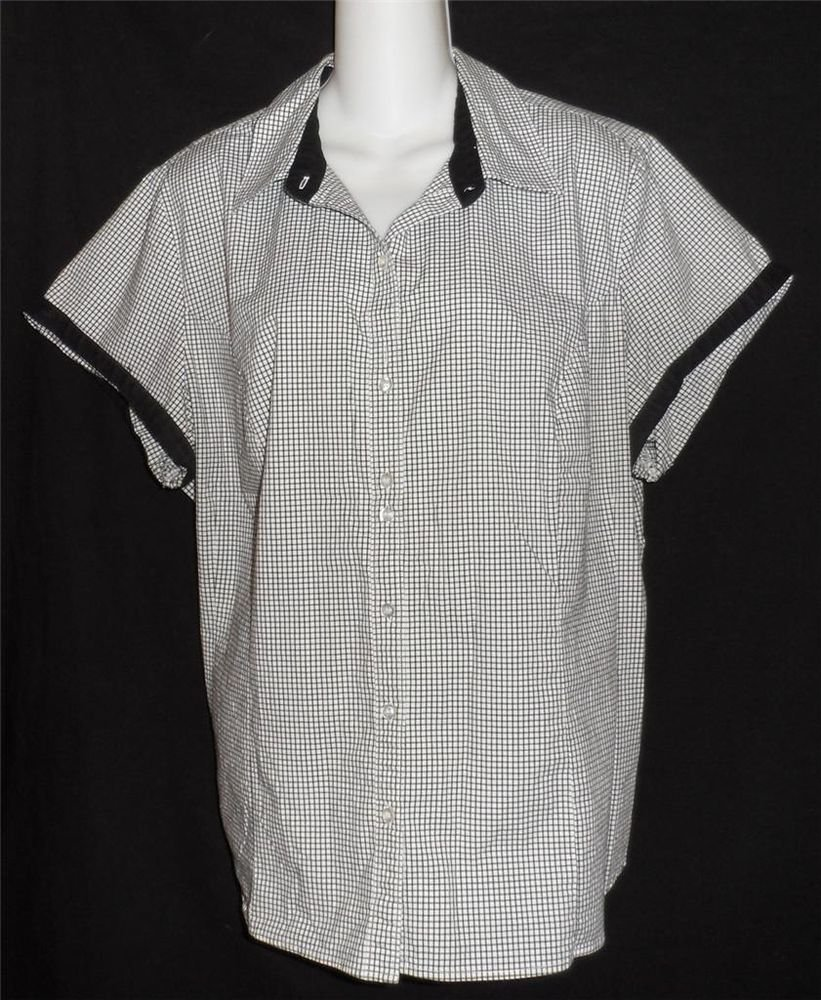 Riders Instantly Slims 2X 18W 20W XXL Black White Checked Blouse SS Button Top