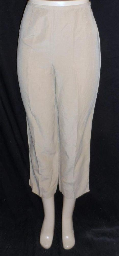 Jones New York Country 10 Medium Linen Blend Beige Taupe Cropped Dress Pants